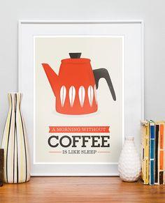 Kitchen poster, coffee print, cathrineholm kettle, retro kitchen decor, art for kitchen, coffee quote, original art, mid century art