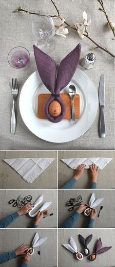 Cute DIY craft ideas for Easter that will bring spring into your home - Easter bunny napkins, DIY craft ideas for Easter, Easter crafts, Easter craft ideas, Easter decorat - Easter Table Settings, Easter Table Decorations, Outdoor Decorations, Wedding Decorations, Wedding Ideas, Diy Osterschmuck, Diy Crafts, Easter Activities For Kids, Easter Games
