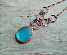 Blue Glass Copper Boho Rustic Earthy Pendant Statement Chunky