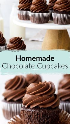 Chocolate Cupcakes From Scratch, Homemade Chocolate Cupcakes, Homemade Desserts, Chocolate Recipes, Easy Desserts, Chocolate Buttercream, Delicious Desserts, Buttercream Frosting, Dessert Recipes