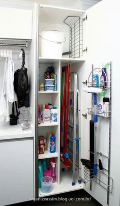 Utility room or small laundry room closet with space for storing laundry soap, broom etc Laundry Room Organization, Laundry Room Storage, Storage Room, Kitchen Storage, Storage Ideas, Broom Storage, Closet Storage, Storage Solutions, Organization Ideas