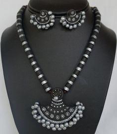 black silver terracotta Terracotta Jewellery Making, Terracotta Jewellery Designs, Clay Earrings, Polymer Clay Jewelry, Teracotta Jewellery, Handmade Jewelry Designs, Necklace Designs, Diy Necklace, Personalized Jewelry