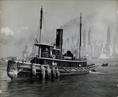Wattupa, from water front: Berenice Abbott, August 10, 1936. I do love tugboats! And New York.
