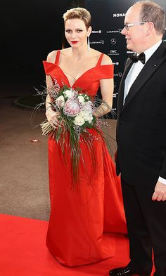In 2017 Princess Charlene of Monaco attended the Laureus Awards wearing a shoulder-baring Carolina Herrera dress with a deep V neckline. Photo: Getty Images