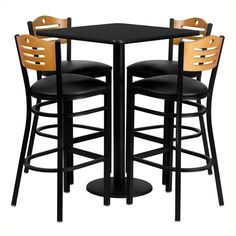 Flash Furniture 5 Piece Square Laminate Table Set (5295 MAD) ❤ liked on Polyvore featuring home, furniture, black, 5pc dining table set, black furniture, square bar height table, square counter height table and 5 piece pub set