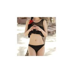 Frilled Tankini (53 BRL) ❤ liked on Polyvore featuring swimwear, bikinis, women, flutter bikini, flounce swimwear, ruffle swimwear, frill bikini and flounce bikini