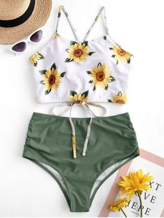 ZAFUL Crisscross Ruched Sunflower Tankini Set - A site with wide selection of trendy fashion style women's clothing, especially swimwear in all kinds which costs at an affordable price. Source by - Bathing Suits For Teens, Summer Bathing Suits, Swimsuits For Teens, Cute Bathing Suits, Cute Swimsuits, Two Piece Swimsuits, Women Swimsuits, Salopette Short, Summer Outfits