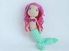 Crochet mermaid plush knitted mermaid stuffed toy doll