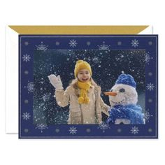 Snowflakes On Navy Photo Card | Fine Stationery