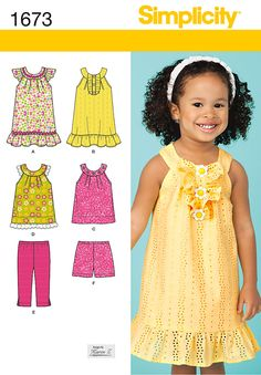Simplicity Toddler's Dress and Top, Shorts and Pants 1673
