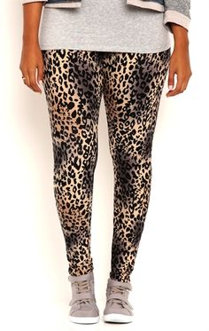 Deb Shops Plus Size Distressed Cheetah Print Leggings $15.00