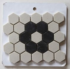 Vintage tile patterns | Black and white flower pattern hex tiles *Link to buy available