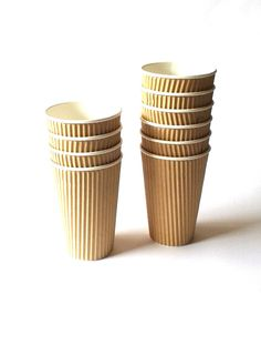 Kraft Brown Eco Ripple Triple Wall Paper 480ml Drinking Cups - Pk 10, 50 or 100 3$