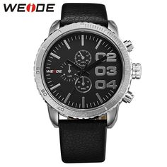 (26.79$)  Buy here - http://aiy0s.worlditems.win/all/product.php?id=32610130830 - WEIDE New Arrive Men's Sports Watch Leather Strap Watches Big Black 3 Dial 3ATM Waterproof Japan Quartz Movement Gifts For Men
