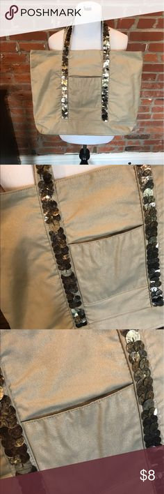 Sequin tote Bronze sequined tote. Great condition, clean. One minor white mark which is shown. Bags Totes