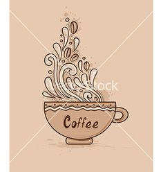 Background with cup of coffee vector by Artspace on VectorStock®