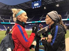 Julie Johnston, Tobin Heath    USWNT SheBelieves Cup - Red Bull Arena (03.03.2017) Fifa 17, Tobin Heath, Fifa Women's World Cup, Us Soccer, Powerful Women, Role Models, Alex Morgan, Red Bull, Athletes