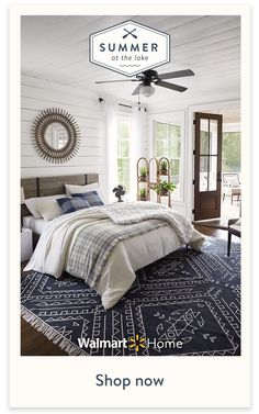 Summer at the Lake - Summer at the Lake - Create a rustic bedroom retreat. Shop lake house style beds, bedding, & decor – for less, at Walm - Bedroom Retreat, Home Bedroom, Modern Bedroom, Master Bedroom, Bedroom Decor, Bedding Decor, Bedroom Ideas, Bedroom Lighting, Contemporary Bedroom
