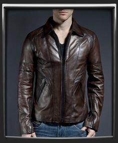 This is probably the ultimate waist length vintage style brown leather jacket. With the Wraith, you get it all - slim fit, collar influenced by 70s style and great detailing with the angled seamlines. Finished off with black zip pockets and cuffs. These are the kinds of leather jackets that transform your look instantly.