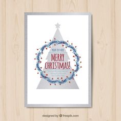Silver christmas tree card Free Vector