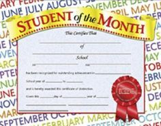 Certificates Student Of The Month 30/Pk 8-1/2 X 11 Inkjet/Laser    Our Diplomas, Certificates and Awards are 8.   NestLearning.com