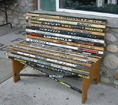 Hockey_Stick_Bench - school has a whole pile of old worn out hockey sticks... what a fabulous solution!