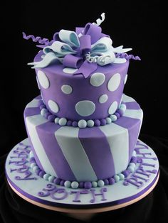 This two tier cake is white chocolate mud cake on top with white chocolate ganache filling and the bottom cake is chocolate mud cake with milk chocolate ganache filling. I have covered the cakes with purple and blue fondant and a fondant bow topper.
