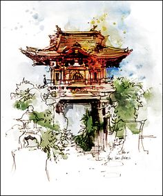 "Fine Art Print Watercolor over Pen and Ink Sketchbook Drawing - Golden Gate Park - San Francisco - Japanese Gate - 8x10"""
