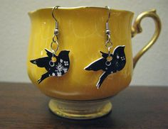 Sweetie Bird Earrings. Dangly. Made From Shrink Plastic.From ephemeralpillages