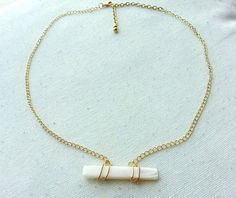 Gold Wire Wrapped Pearl Bar Necklace by MaggiMakesIt on Etsy, $15.99