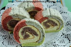Vivian Pang Kitchen: Rainbow Swiss Roll with Natural Colouring/ Chiffon Cake Method