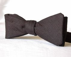 Men's Bowtie  Black Linen Cotton Bow Tie by ANDAmpls on Etsy
