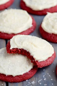 These Red Velvet Sugar Cookies are all the delicious flavor of red velvet, buttery soft, and crisp on the outside. Topped with some of the best cream cheese frosting! (icing for sugar cookies recipe)