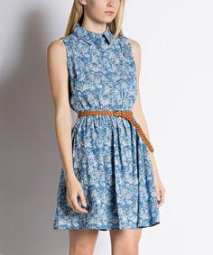 Look what I found on #zulily! Ezra Denim Floral Belted Shirt Dress by Ezra #zulilyfinds