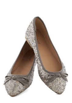 Go for the Rose Gold Flat in Pewter - Silver, Bows, Sequins, Wedding, Holiday Party, Bridesmaid, Luxe, Flat, Good