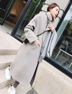 韩版毛呢大衣中长款廓形长款过膝毛呢外套女宽松显瘦加厚呢大衣_美丽围城_美丽说
