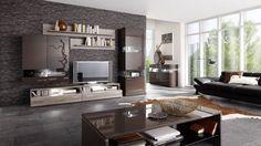 Wohnwand echtholz dunkel  Wohnwand Ideen Echtholz Eiche hell modernes Wohnzimmer einrichten ...