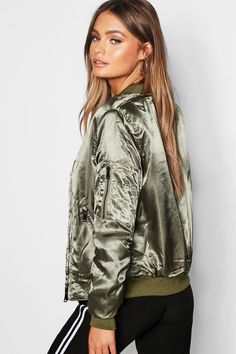 Satin Bomber | boohoo Satin Bomber Jacket, Padded Jacket, Supreme Clothing, Plastic Raincoat, Satin Jackets, Miami Fashion, Sport Chic, Jacket Style, Coats For Women