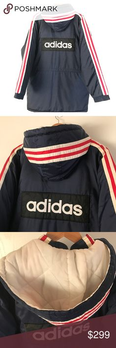 ADIDAS Munich 3 Stripe Logo Puffer Trench Sz L 100% AUTHENTIC  Extremely Rare early 1990's in an amazing color way..  ADIDAS Munich Germany Soccer 3 Stripe Back Logo Puffer Trench  Size: L (Fits like an XL)  Color: Red / White / Blue  *** You won't find this online ***  *** I'm a wardrobe stylist & I purchased this extremely rare early 1990's jacket for a film and it was only worn on set for a couple of scenes. It is in nearly Excellent Condition, as shown in detailed pictures *** adidas…