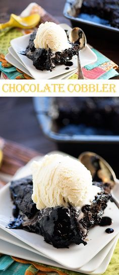 Rich, fudgy chocolate cobbler - it's a like a layer of gooey chocolate, topped with a brownie, and it's EASY!