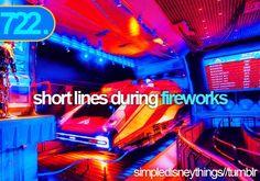 short lines during fireworks