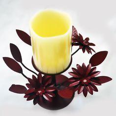 Maroon Led Candle Set #handicrafts online at #craftshopsindia