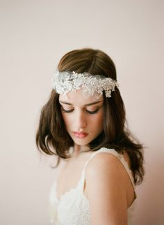 Lace and rhinestone crown with swags - Twigs and Honey
