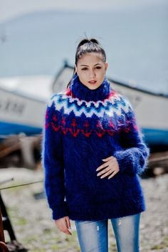 Tiffy Mohair T neck Icelandic Pattern Sweater by TiffysMohair Mohair Yarn, Mohair Sweater, Turtleneck, Sweater Fashion, Sweater Outfits, Extreme Knitting, Icelandic Sweaters, Hand Knitting, Knitwear
