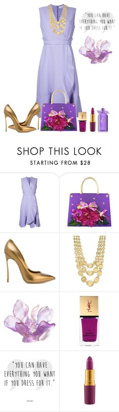 """Lavender Pastel Dress"" by shamrockclover ❤ liked on Polyvore featuring Carven, Carlo Zini, Casadei, Marco Bicego, Daum, Yves Saint Laurent, MAC Cosmetics and Molton Brown"
