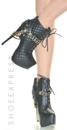 WOMENS BLACK GOLD CHAINS HIGH HEEL HIDDEN PLATFORM ANKLE BOOTS SIZE 2-7