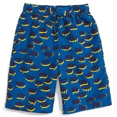 Marine blue, boys swim shorts by Stella McCartney Kids with an all over all over chat bubble print with sayings like 'Jump', 'Float' and 'Flip'. Featuring an elasticated waistband, a long suffer length and two side pockets.  Elasticated waistband Side pockets Lined for comfort 100% polyester  Runs small