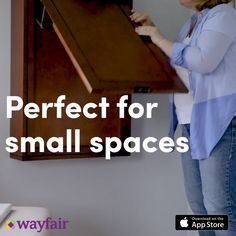 Effortlessly create your dream home with the Wayfair app. This space-saving tric.,Effortlessly create your dream home with the Wayfair app. This space-saving trick gets the job done! A clever fold-up desk turns any small space into . Folding Furniture, Space Saving Furniture, Home Decor Furniture, Diy Home Decor, Space Saving Desk, Space Saver, Fold Up Desk, Study Corner, Corner Office