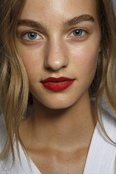 Deep red lips