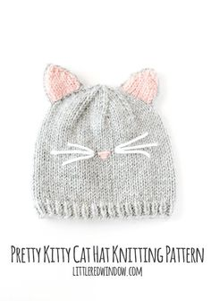 Baby Cat Hat KNITTING PATTERN // Cat Ear Hat Pattern // Baby Knit Hat Pattern with Cat Ears The pretty kitty cat hat knitting pattern is modeled after our former beloved pet who had the cutest little Baby Hat Knitting Pattern, Knit Patterns, Free Knitting, Beanie Pattern, Baby Knitting Patterns Free Newborn, Baby Hat Patterns, Sweater Patterns, Knitting For Kids, Stitch Patterns